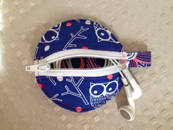Earbud Pouch-Blue, White & Pink Owl Print