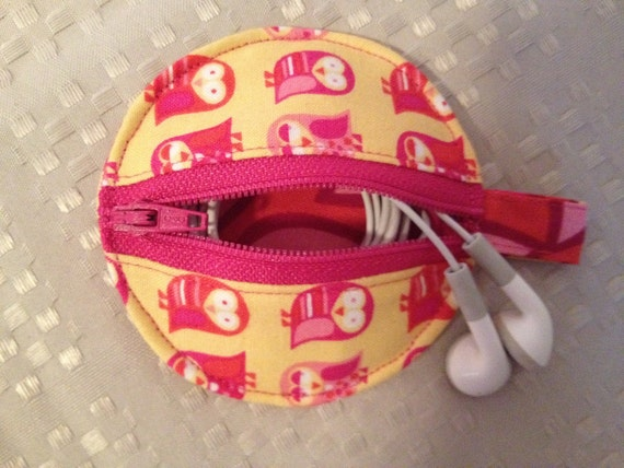 Earbud Pouch-Pink & Yellow Owl Print