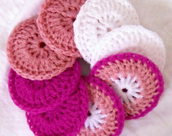 Crochet Nylon Dish Scrubbies - Set of 8 - Valentine Collection - Pink and White Multicolor Pot Scrubbers
