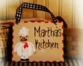 Cucina Fat Chef Personalized Kitchen Sign Country Whimsical Decor