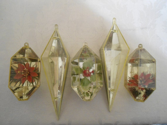 A Set of Five Yellow Jewel Brite Christmas Ornaments