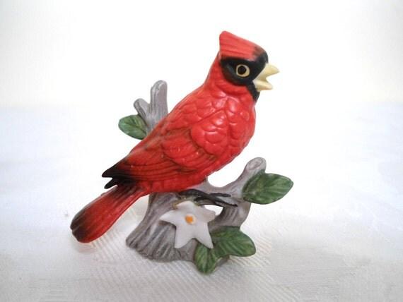 Lefton China Red Bird Figurine Miniature Cardinal