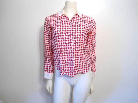 Rockabilly Lady Manhattan Vintage Blouse size 12 Red and White Checkered