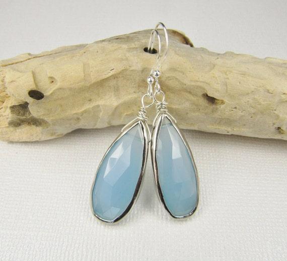 Blue Chalcedony Earrings, Gemstone Earrings, Sterling Silver Earrings, Briolette Earrings, Chalcedony Briolette Earrings, Bezel Set Earrings