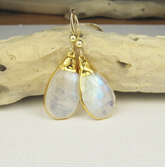 Moonstone Earrings-Gemstone Earrings-Gold Earrings-Teardrop Earrings-Bezel Set Gemstone Earrings-Briolette Earrings