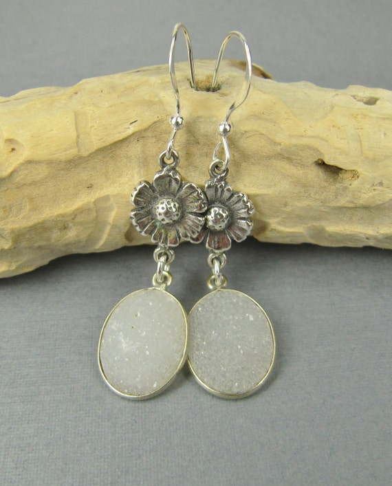 White Drusy Earrings, Sterling Silver Jewelry Handmade, Druzy Earrings, Silver Earrings, Drusy Pendants, Sterling Silver Earrings