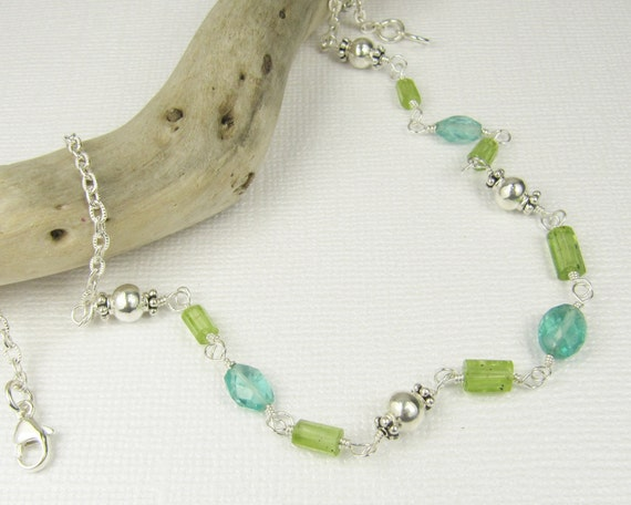 Gemstone Beaded Necklace-Sterling Silver Jewelry Handmade-Apatite Necklace-Peridot Necklace-Gemstone Necklace-Hand Wrapped Chain