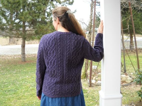 Celtic Braid Violet Tweed Zipper Cardigan  -  Ladies Size Large