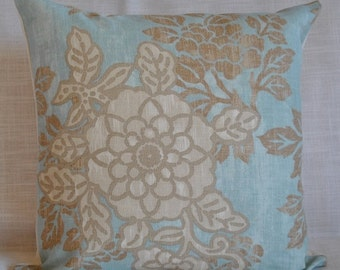 Decorative Linen Pillow Cover-18x18 -Designer Fabric-Floral-Throw-Accent Pillow-Aqua-Taupe