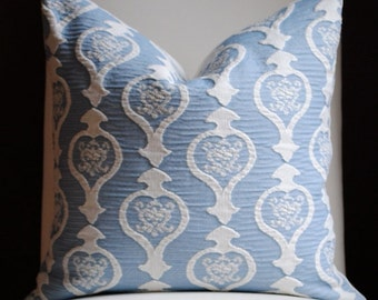 Burning Heart Decorative Pillow Cover-20x20-Accent Pillow-Throw Pillow-China Blue-Cream