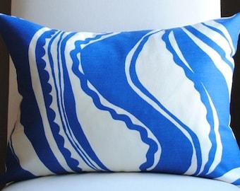 Ready to Ship-Carmel Coastline Print-14x20--Surf-Trina Turk-OUTDOOR PILLOW-Both Sides-Designer Pillow-Toss PIllow-Schumacher Pillow