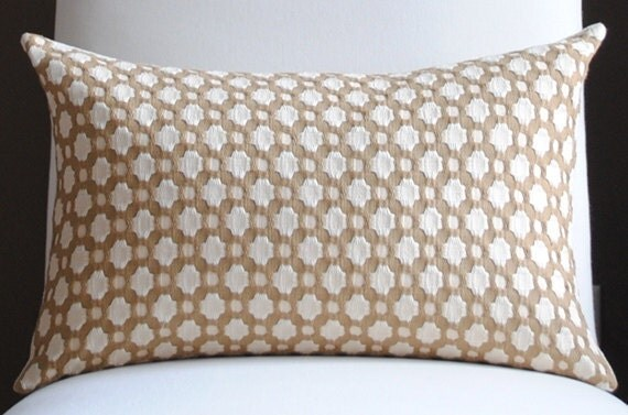 Beautiful Decorative Pillow Cover-12x18-COTTON-Betwixt-Biscuit/Ivory-Celerie Kemble-Throw Pillow-Accent Pillow