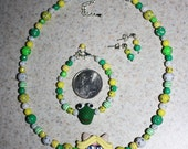 SALE - Miss Piggy child's necklace Kermit bracelet and matching earrings,The Muppets