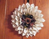 Vintage Paper Cone Flower Hymnal Wreath *CUSTOM ORDER*