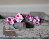 Ashley . Bitty Bows . White with Hot Pink Dots