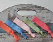 Ice Cream Social . Set of 5 Elastic Hair Ties . Blue, Pink, Coral, Moss, Tangerine