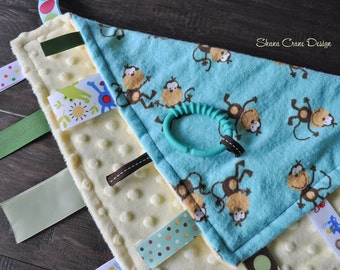 Monkey Mischief . Ribbon Blankie . Blue Flannel and Yellow Minky