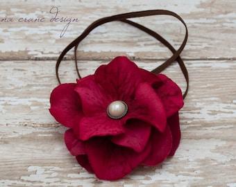 Ginny . Headband . Silk Flower . Strawberry Hydrangea