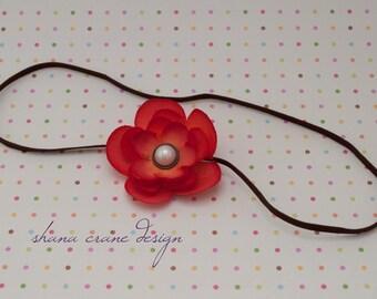 Natalie . Headband . Silk Flower . Small Orange Ranunculus