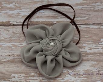 Nicole . Headband . Chiffon Flower with Rosette Center . Sage