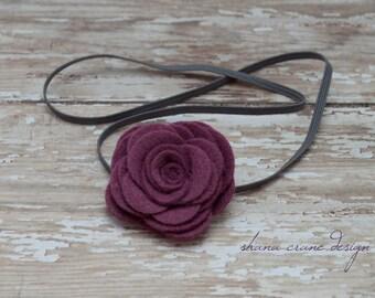 Angie . Headband . Mulberry Felt Rose