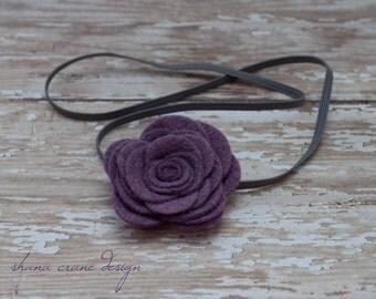 Missy . Headband . Hydrangea Purple Felt Rose