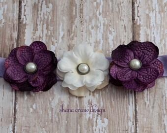 Lynne . Headband (tween-adult size) . Silk Flowers . Purple and White Hydrangea