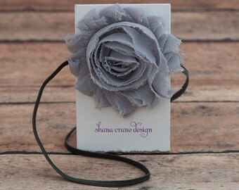 Grace . Headband . Shabby Chiffon Flower . Soft Gray