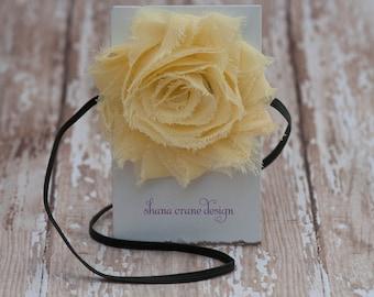 Hailey . Headband . Shabby Chiffon Flower . Buttercup Yellow
