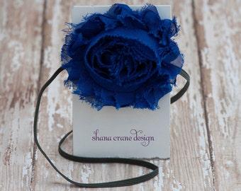 Kimberly . Headband . Shabby Chiffon Flower . Royal Blue