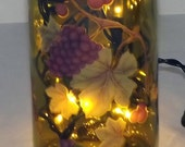 Grape Clusters Recycled Wine Bottle Accent Lamp/Lite-Great Gift