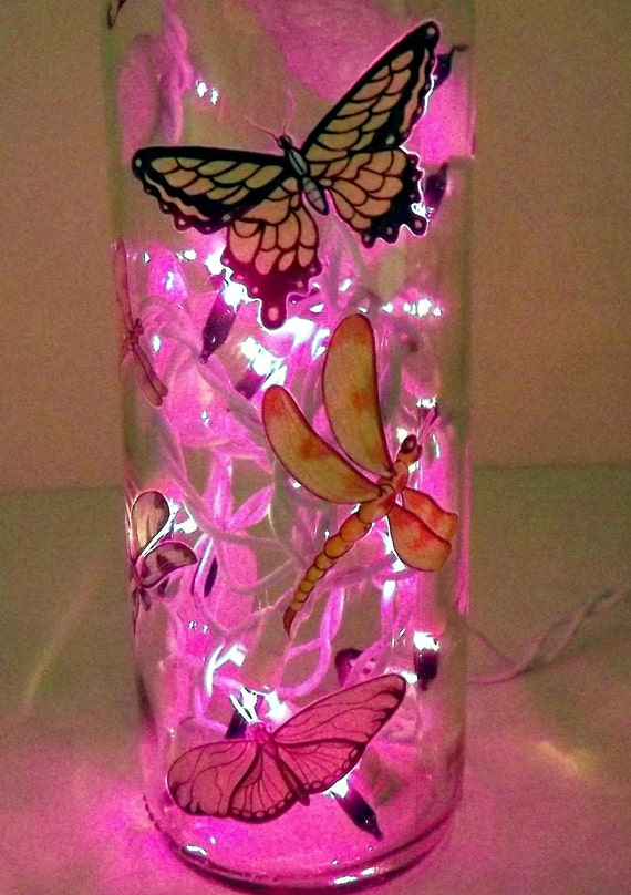 Butterflies & Dragonflies Glass Bottle Accent Light/Lamp-AWESOME-Great Gift Idea