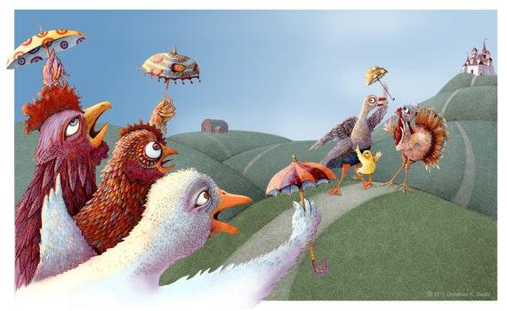 Fairy Tale - Chicken Little -  Folk tale illustration - nursery art - Children Decor - Limited Edition Print