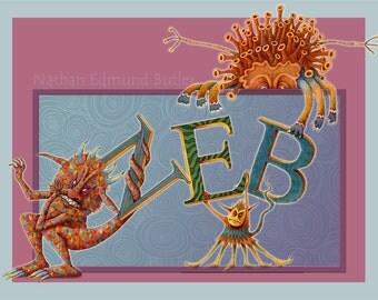 Monster - Monster Art - Personalized Name Print - Custom Child Name - Alphabet Art - Customized Kid Art - Children Wall Art - Alphabet Print