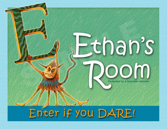 Monster - Personalized Name Sign - Children Door Sign - Kids Wall Art - Customized Room Sign - Monster Art - Name Print