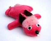 Pink Vintage BUNNY RABBIT Beanbag Toy. 1960s 70s Plush