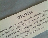Printed Menu Napkin Ring for Wedding, Rehersal Dinner or Party