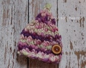 Urban Baby Pixie Hat, Newborn Baby Girl, Newborn Photo Prop (0-3 Months), Detachable Wooden Button