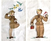 vintage Military Guest Towels - WWII era - DISCOUNTED