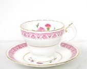 Cauldon vintage Tea Cup and saucer - Pink Thistle pattern 9830