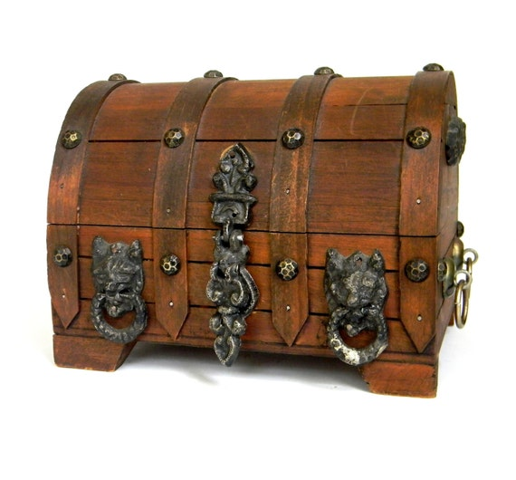 Vintage Wooden Chest ~ Treasure chest pirates booty vintage wooden box