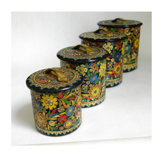 tin canister set holland made floral print