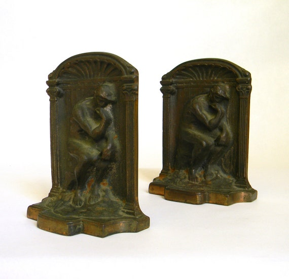 Rodin The Thinker vintage Bronze Plate over Cast Iron Bookends - 1925