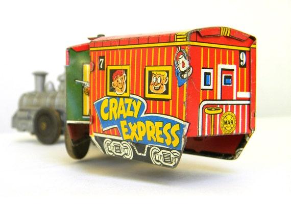 Marx Crazy Express tin wind up train - Vintage 1950s
