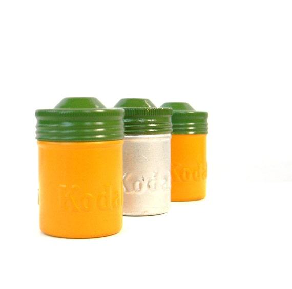 Empty Kodak Kodachrome metal film canisters