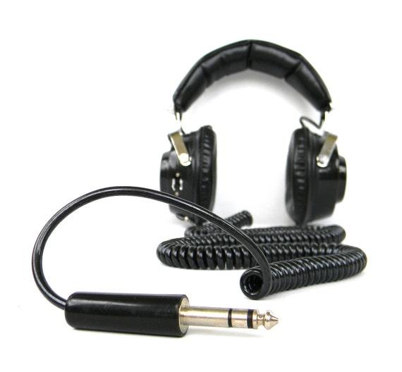 vintage Black Stereo Headphones - 20 foot cable