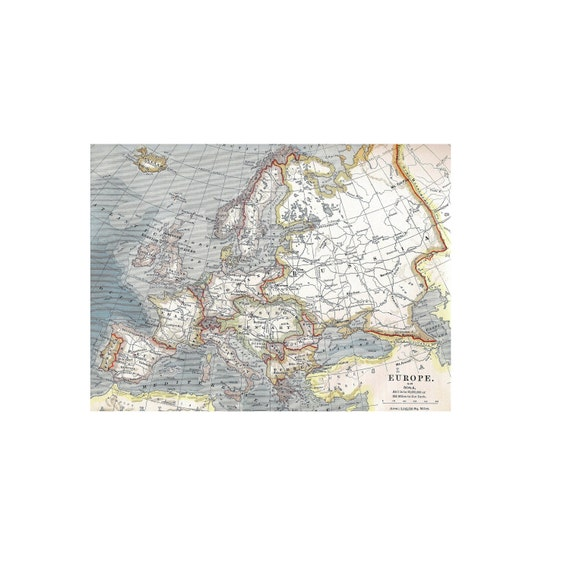1896 Map of Europe - Salvaged from Eclectic Map book