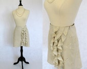 One of a kind Embroidered Cotton Ecru Skirt Size 4