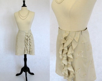 One of a kind Embroidered Cotton Ecru Skirt Size 4 Sample Sale