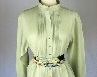 Made to Order Shirt Dress in Sage Italian Linen